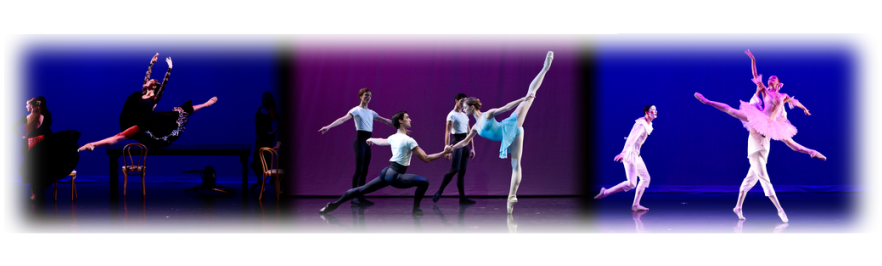 a banner image with photos from Ellison Ballet performances